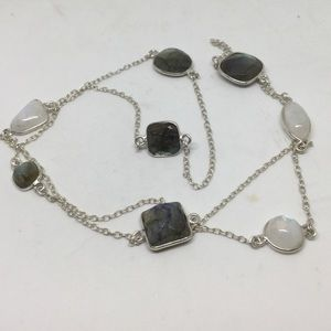 Moonstone and Labradorite Silver Long Necklace